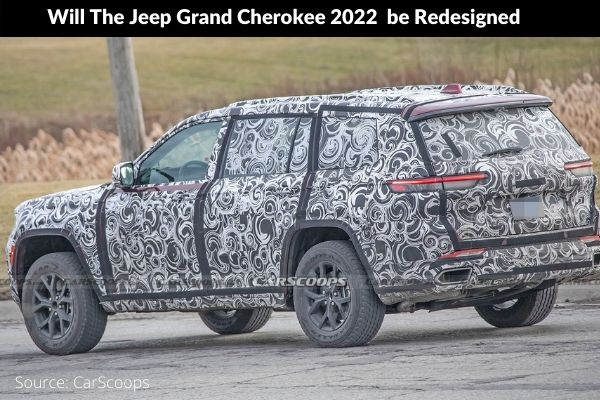 Jeep Grand Cherokee 2022 redesigned spy photo on road new version photo